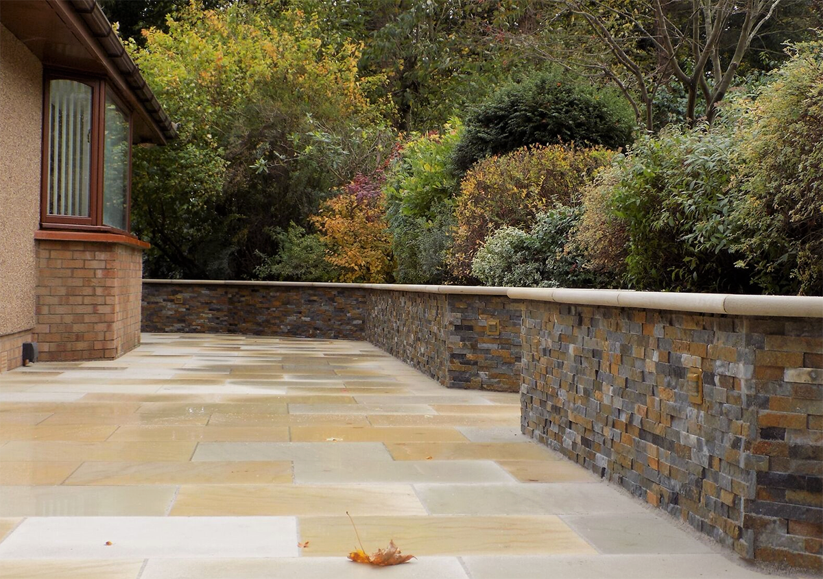 Buff Sandstone Paving & Steps, Autumn Tier Panel System