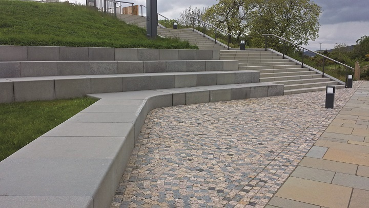 Granite sets of mixed colour and steps (smaller staircase in background) all provided by CED Stone Group