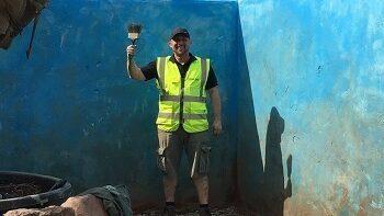 CED Stone's Dan Conboy lending a hand on the CAMFED garden in 2019