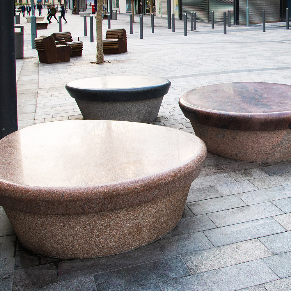 In Sunderland town centre you'll find these beautiful eye catching benches. Carefully crafted with granite's from China & Europe. See more on this in Projects>Public Spaces>Granite