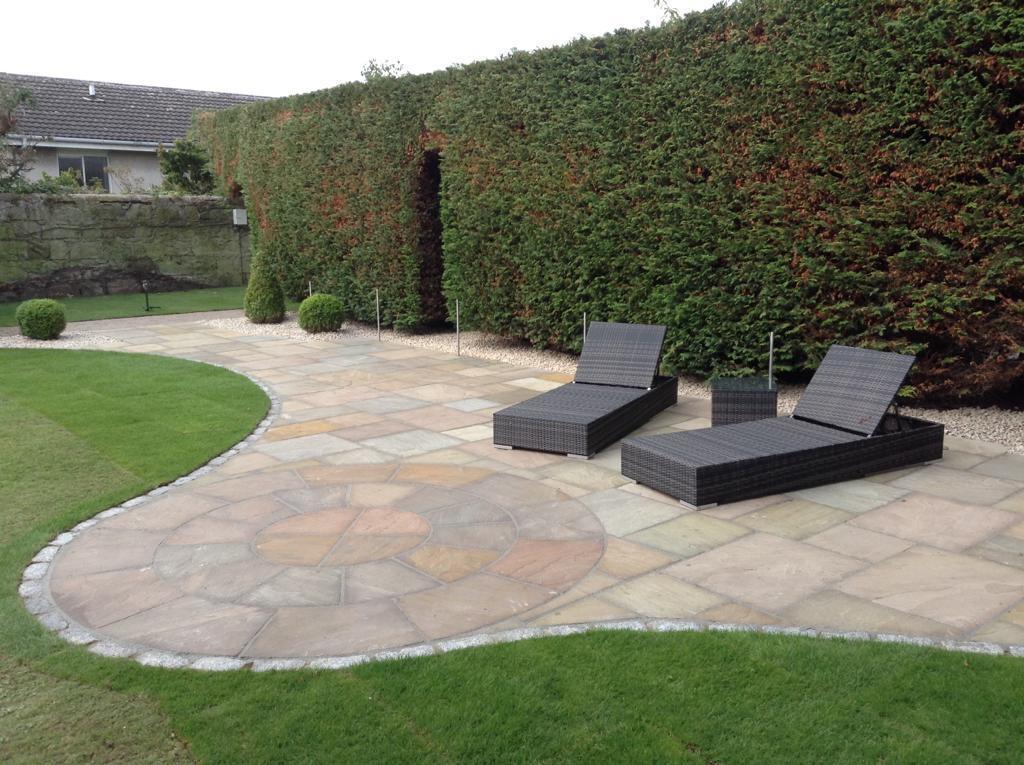 Beige Sandstone Circle, Private Garden by Alan Rowan Landscape Gardener