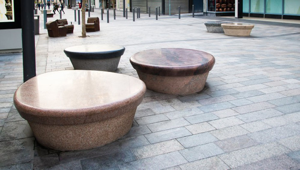 Unique Natural Stone Benches By CED Stone Group For Retail Sunderland High Street