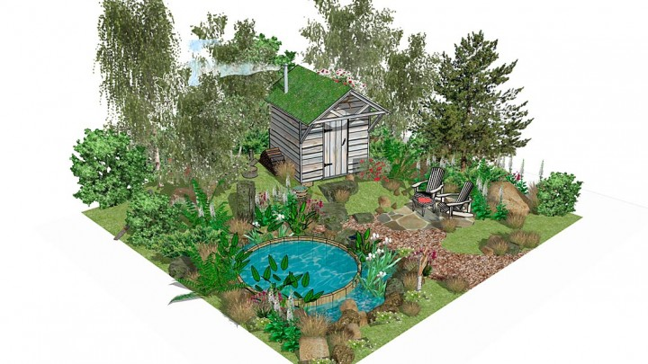 The design features a woodland path, sauna hut and plunge pool…