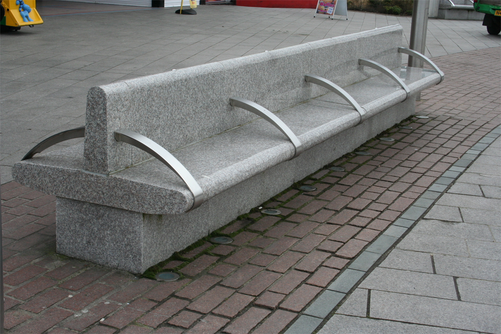 Polished pink granite benches' Great Yarmouth. Contractor - May Gurney. Designer - Landscape Practice. For further details on this job please go to our Projects Gallery