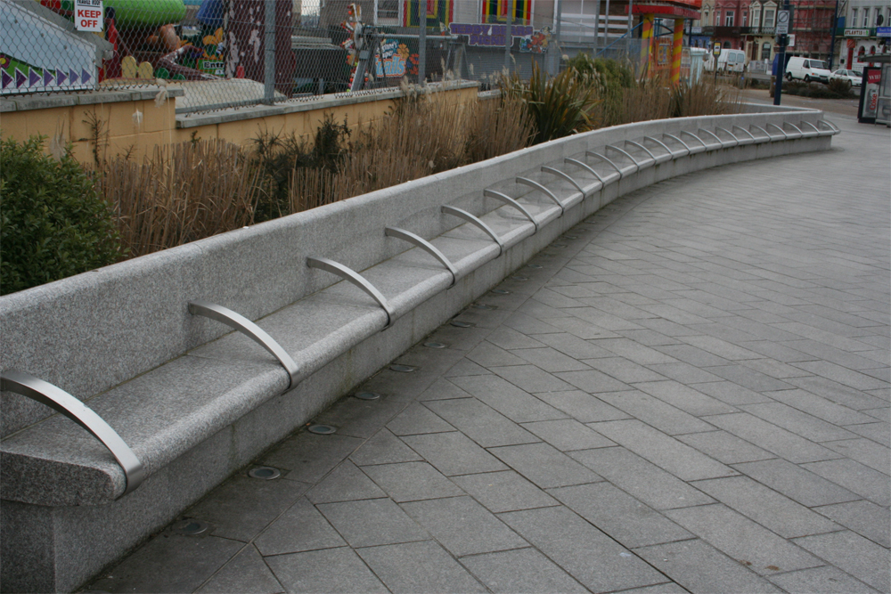 Polished pink granite benches' Great Yarmouth. Contractor - May Gurney. Designer - Landscape Practice. For further details on this job please go to our Projects Gallery.