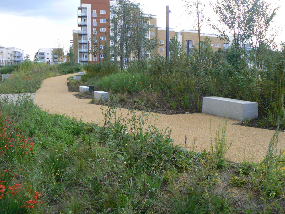 Silver grey granite benches' Lewisham Open Space. Contractor - Skanska McNicholas. Designer - BDP. For further details of this job please go to our Projects Gallery.