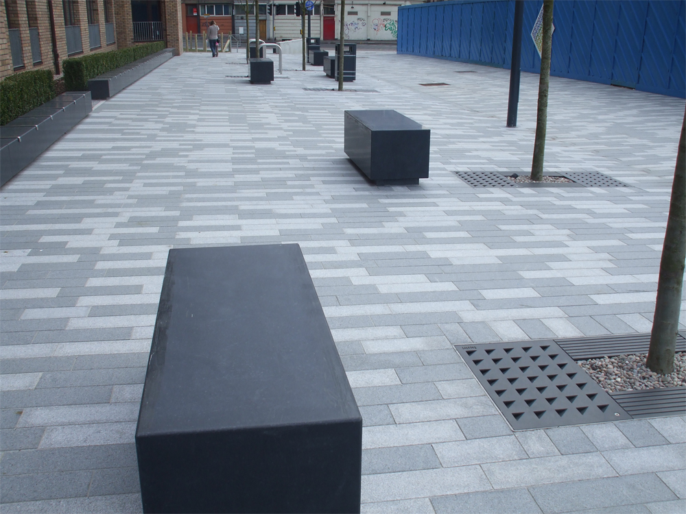 Black basalt benches' Springside. Contractor - Premier One Ltd. For further details on this job please go to our Projects Gallery.
