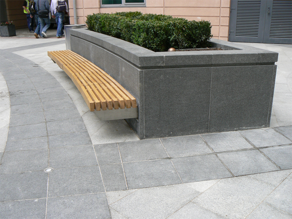 Granite at St George's Wharf. Designer - Broadway Malyan. Contractor - McArdle ECS Ltd.
