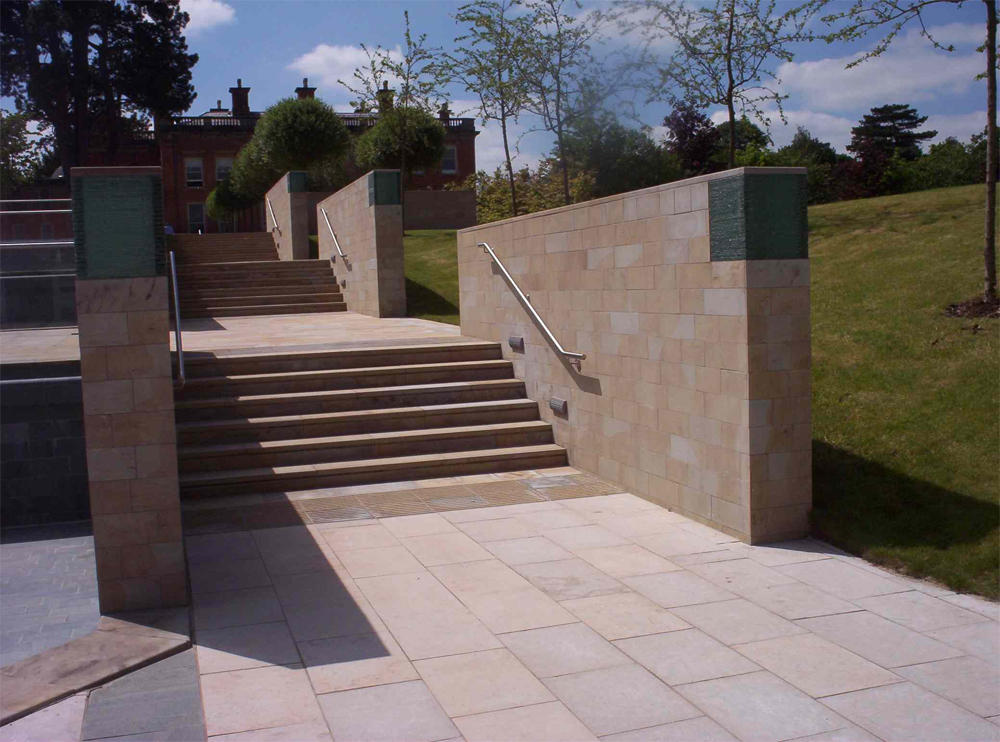 Yorkstone Steps at Booths Hall. Designed by BDP and built by Globe Management. For further details of this job please go to our Projects Gallery