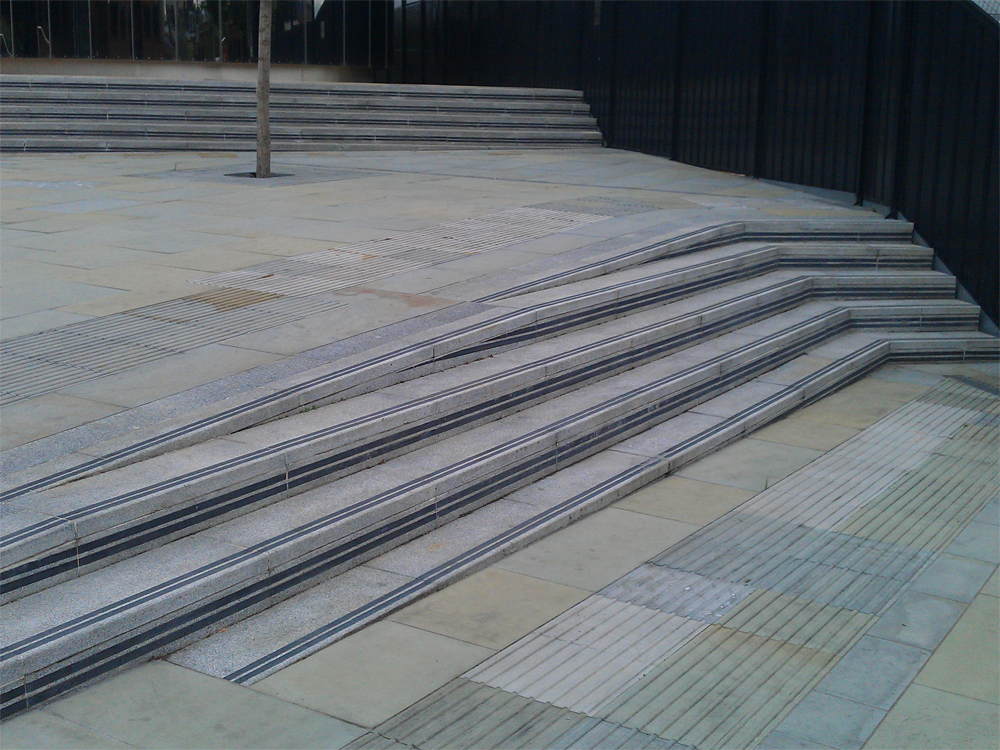 Granite Steps at The City Road Basin' Islington. Contractor - Rochford Paving.