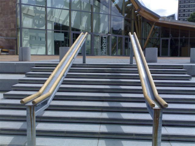 Dark Grey Granite Steps at The Herbert Art Gallery' Coventry. Designer - Edward Hutchison Landscape Architects. Contractor - Interlock Paving.