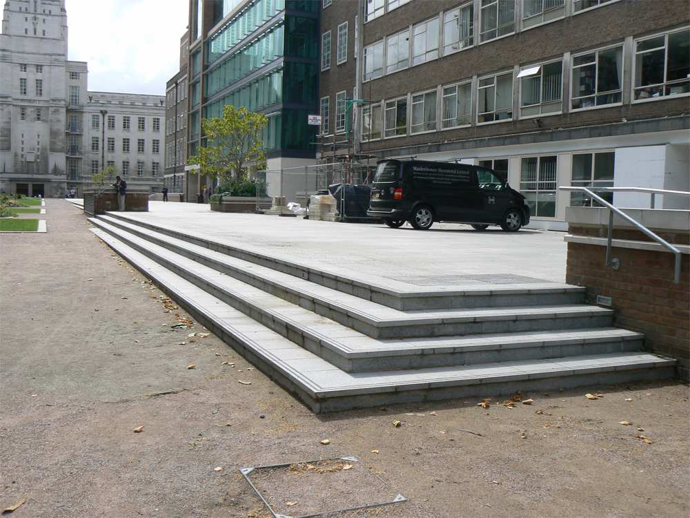 Silver Grey Granite Steps' Torrington Square. Designer - Robert Myers Associates. Contractor - Calabasas. For further images and info on this job please go to our Projects Gallery.