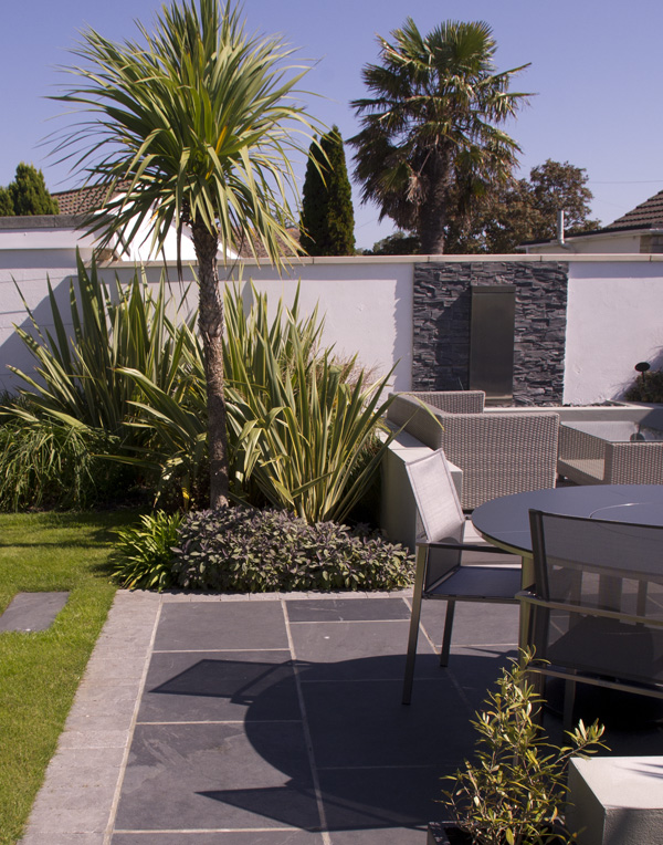 Black Slate Riven Paving' private garden designed by Helen Elks-Smith Garden Design.
