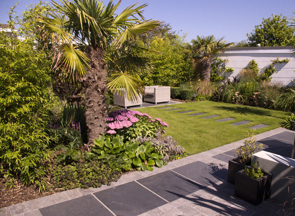 Black Slate Riven Paving' private garden designed by Helen Elks-Smith Garden Design.