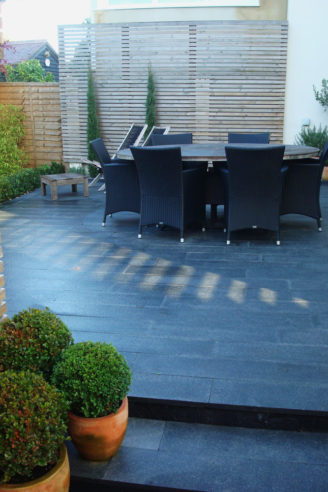 Blue Grey Granite Plank Paving In A Private Garden Ced