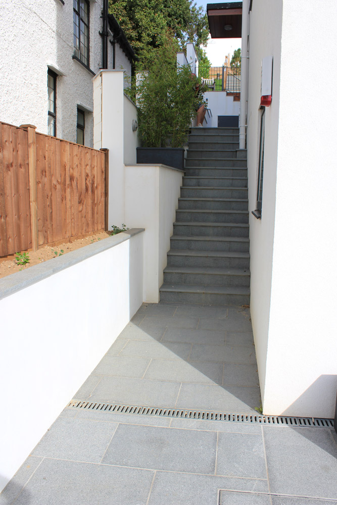 Blue Grey Granite paving to make stunning steps at a private property' designed and built by Alan Carvosso. For further images of this job please visit our Projects-Private Places Gallery.