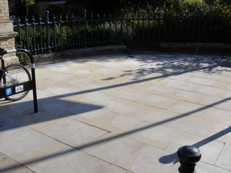 Sawn Yorkstone Paving' North Dulwich Station' London.