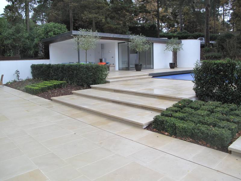 Buff Sandstone Paving. Private Garden constructed by Arun Landscapes. For further images of this project please visit our Projects Gallery.