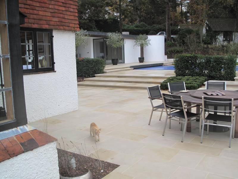 Buff Sandstone Paving. Private Garden constructed by Arun Landscapes. For further images of this job please visit our Projects Galley.