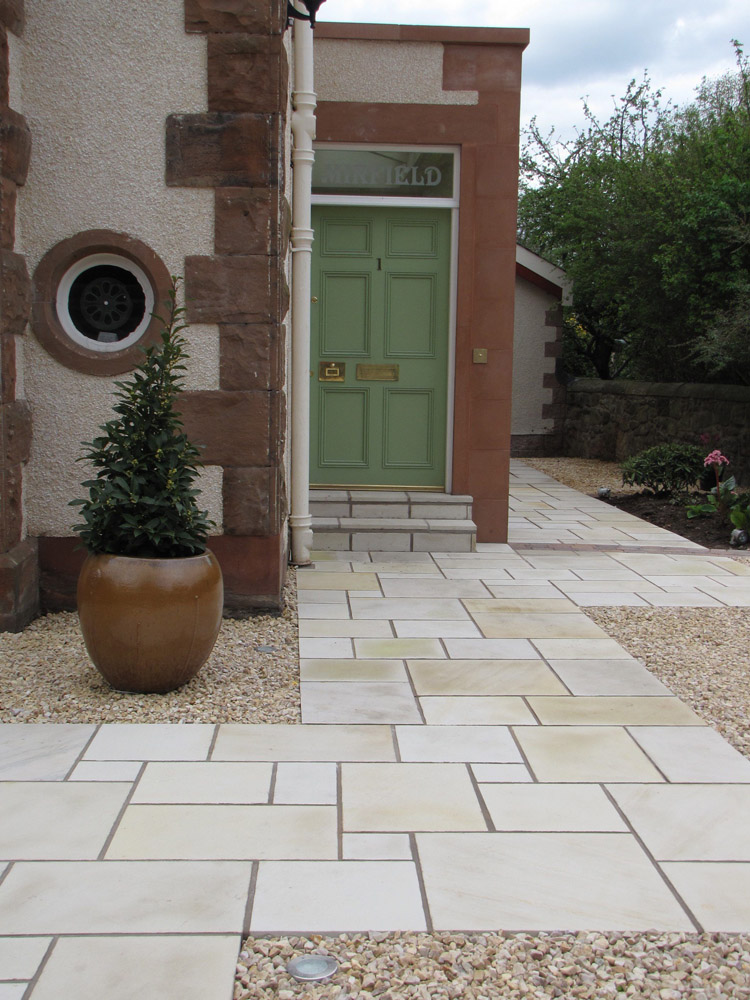 Buff sandstone paving with a local gravel. Private garden in Scotland designed by Green Edge Garden Design and built by Paul Smith Landscaping.
