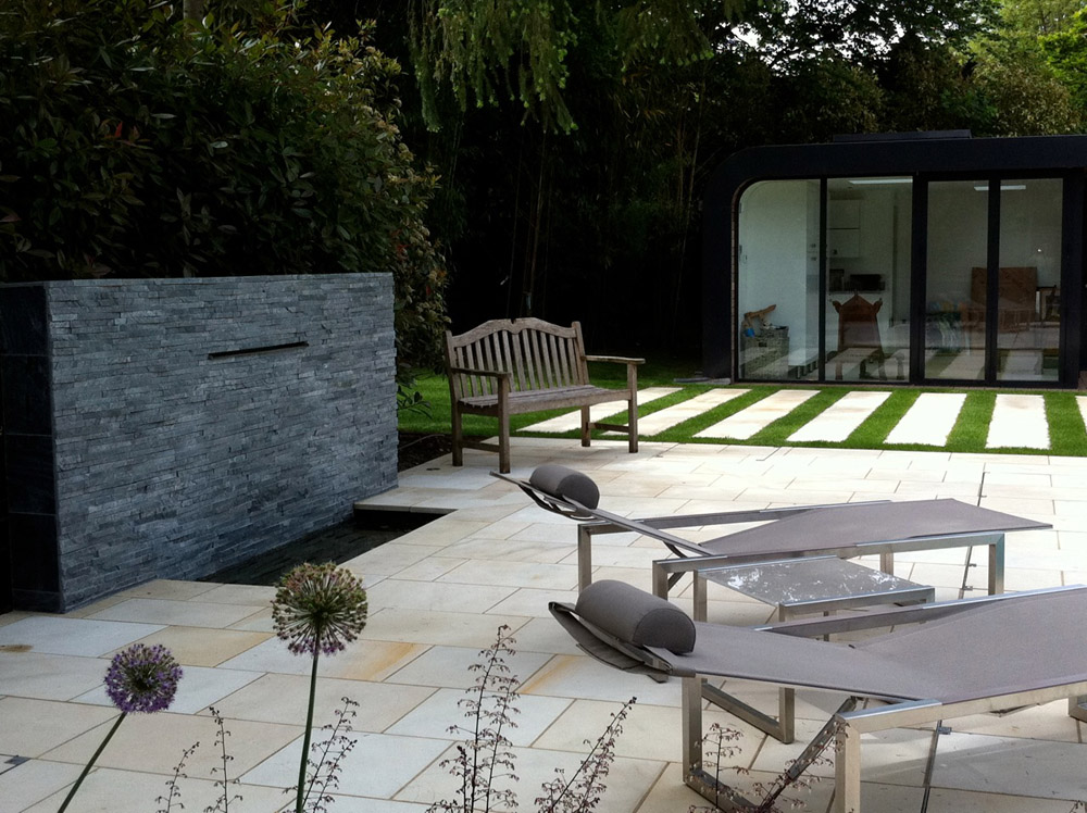 Buff Sandstone Paving in North London. Private garden designed by Amanda Broughton Garden Design and built by Moyglen Construction.