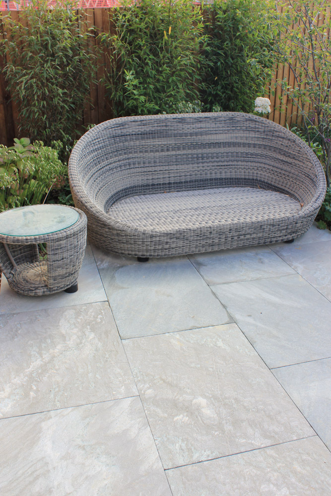 Ebony Cloud paving. Show garden' Crest Nicholson Eastern. Garden designed and built by The Land Design Partnership. For further images of this job please visit our Projects-Private Places Gallery.