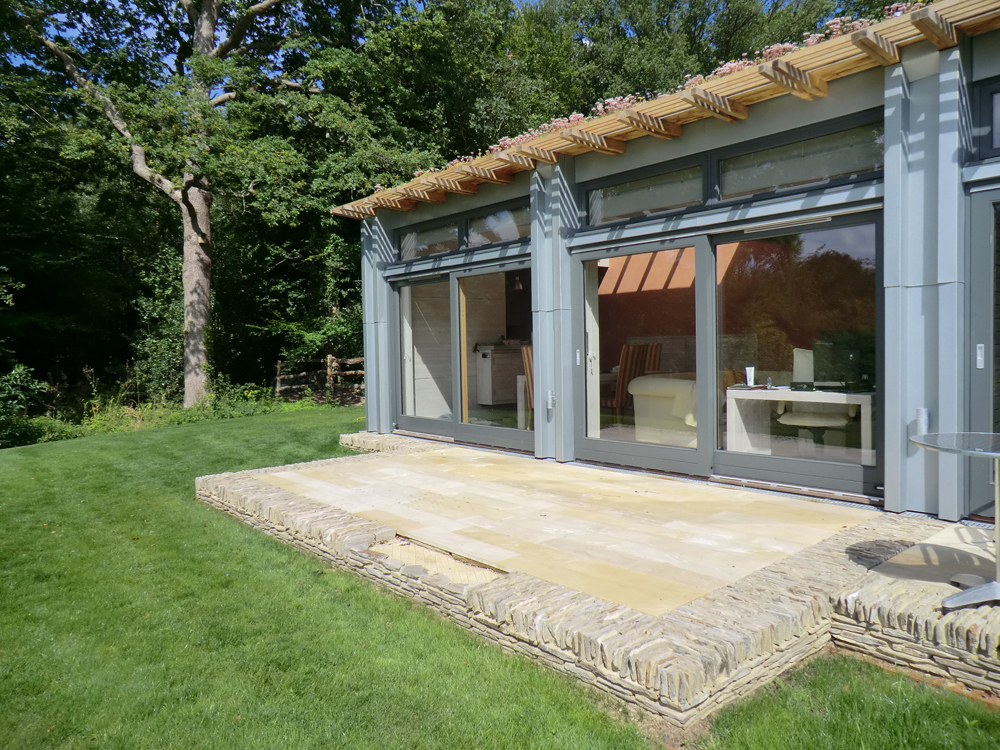 Buff Plank Paving with Yellow Quartz Paddlestones' Private House. Contractor - Douch Partners Ltd. Designer - Nicolas Pople Architect.
