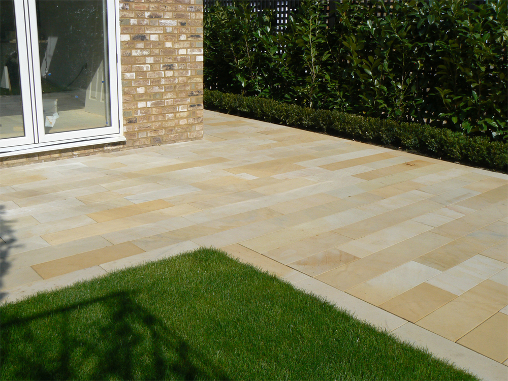 Buff Sandstone Plank Paving' Private Garden. Designed and built by Stock Construction.
