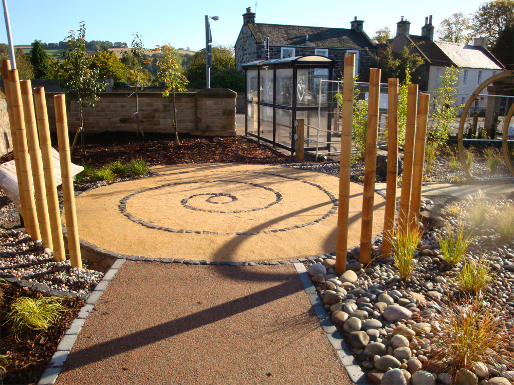 Cedec Gold with Cedec Red and Scottish Beach Cobbles. Community Garden in Aberdour' Fi