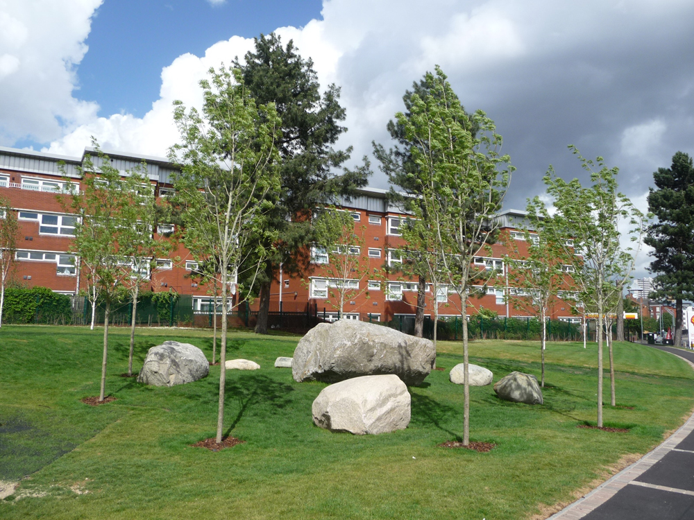 Caledonian mixed glacial boulders at The Five Ways Community Park' Birmingham. The largest boulder weighed approx 22t. Designer - The Landscape Practice Group. Contractors - Thomas Vale Construction & Jack Moody Landscapes Ltd.