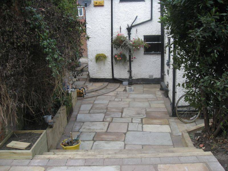 Cathedral Sandstone Paving in Private Garden.