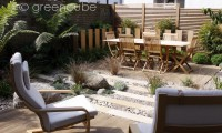 Buff Sandstone Plank Paving' Celtic Boulders and Scottish Beach Cobbles & Pebbles. Private courtyard garden designed by Greencube and built by Quest Landscapes.