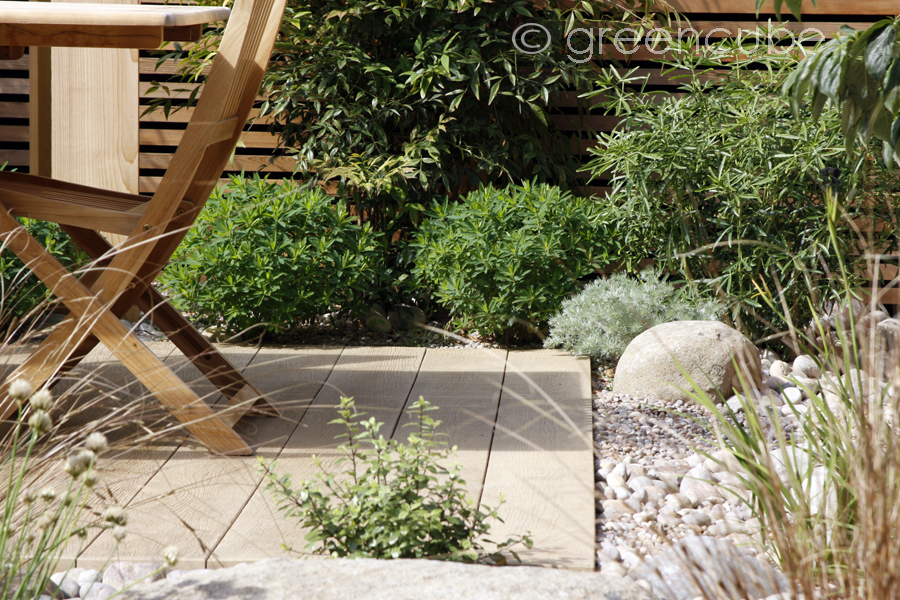 Plank Paving Boulders And Cobbles In A Private Garden