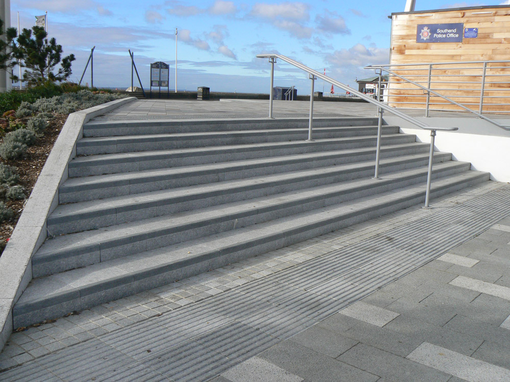 Granite steps at Southend City Beach. Contractor - Carillion plc. For further details and images of this job please visit our Projects-Public Spaces Gallery.