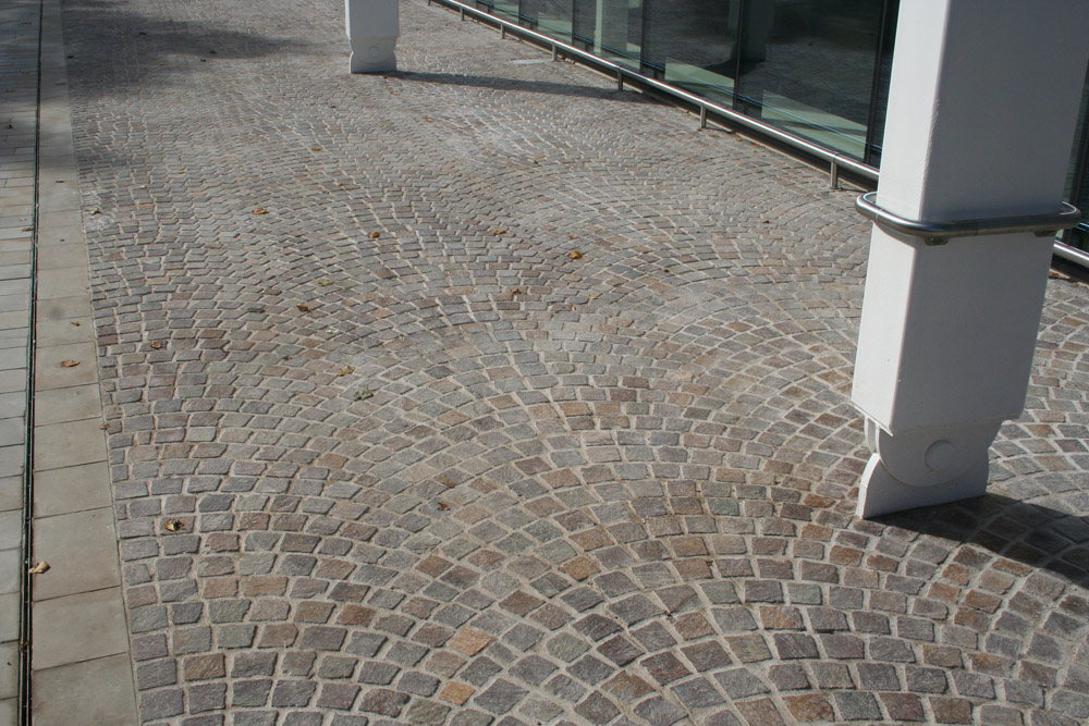 Porphyry setts at Highams Park' London. For further images and information on this job please visit our Projects-Public Spaces Gallery.