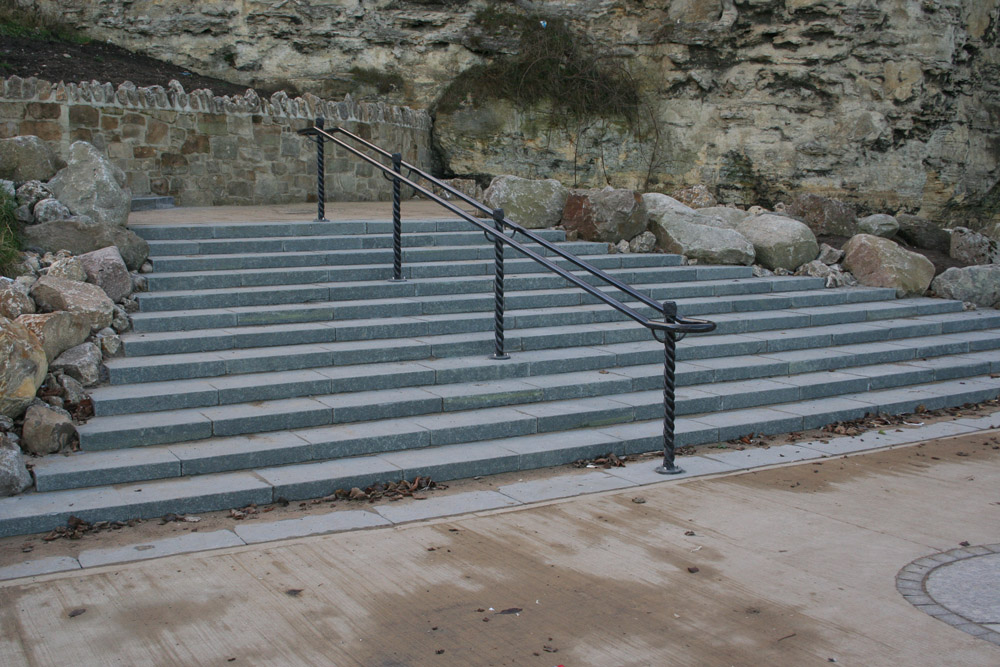 Green granite steps at Roker Marine Walk' Sunderland. For further images and details on this job please visit our Projects Gallery.