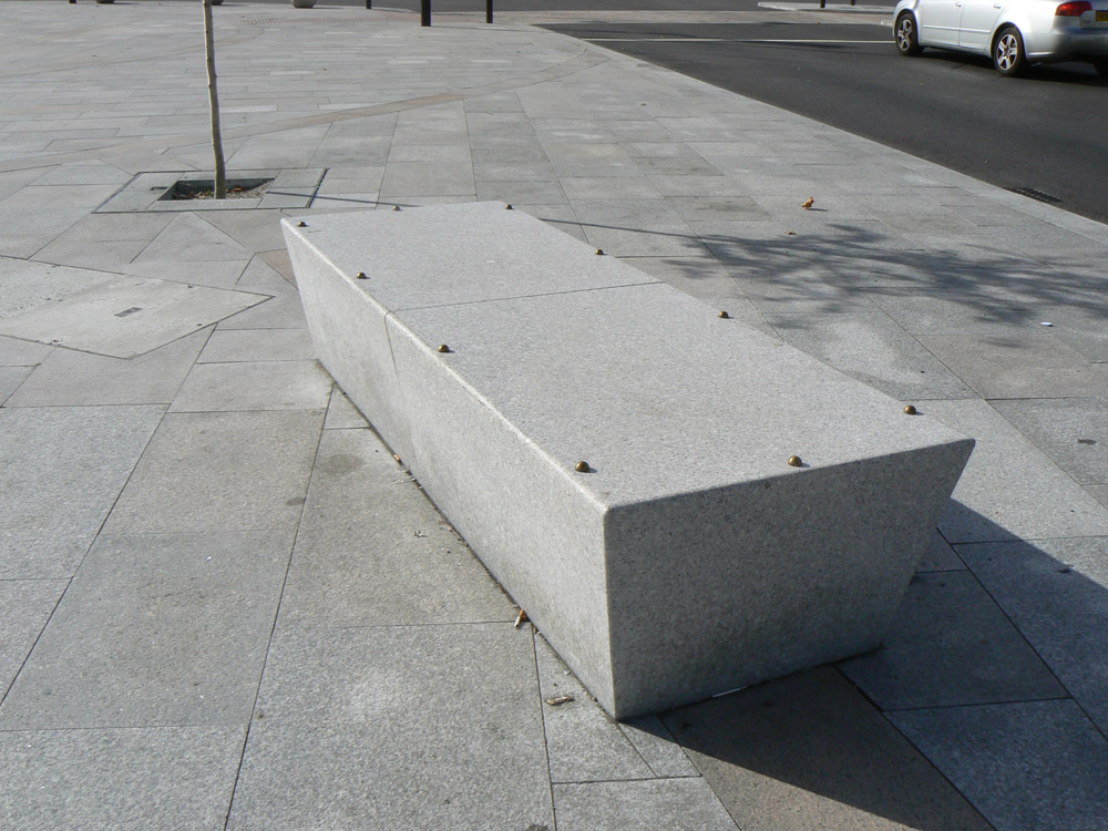 Granite benches at Southend Victoria Gateway. For further images and details of this job please visit our Projects-Public Spaces Gallery.