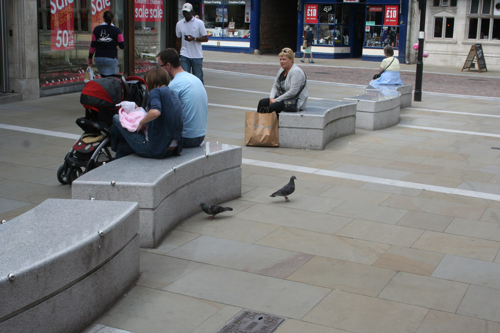 Silver Grey Granite Benches with polished tops in Widemarsh Street' Hereford. For further images and information on this project please visit our Projects-Public Spaces gallery.