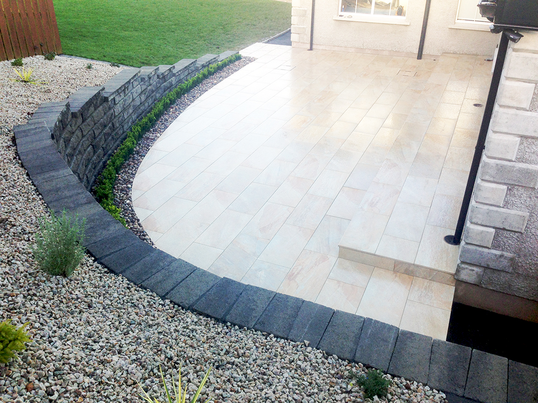 A private garden by Spring Landscapes using Emperor Porcelain Paving in Limerick.  Image courtesy of Spring Landscapes.