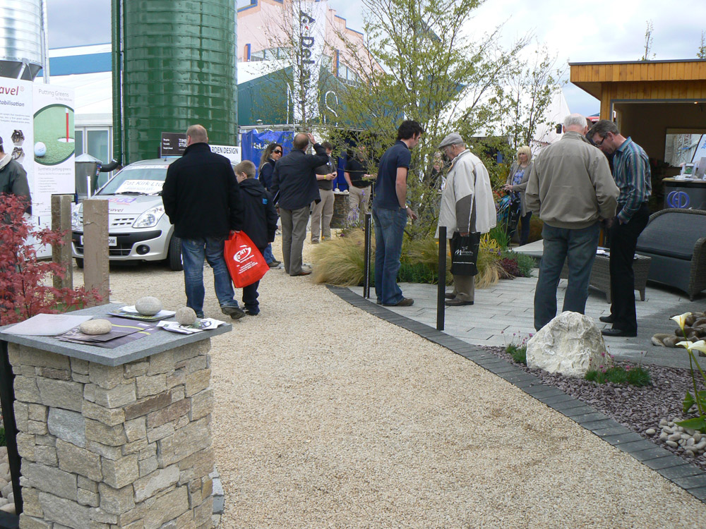 Irish barley quartzite laid in Cedagravel® at Balmoral Show. Also pictured is rustic granite Tier' plum slate' meadowgrass marble rockery' silver grey granite plank paving and black limestone setts. For further images and info of this garden please visit our Private Places-Show Gardens Gallery.