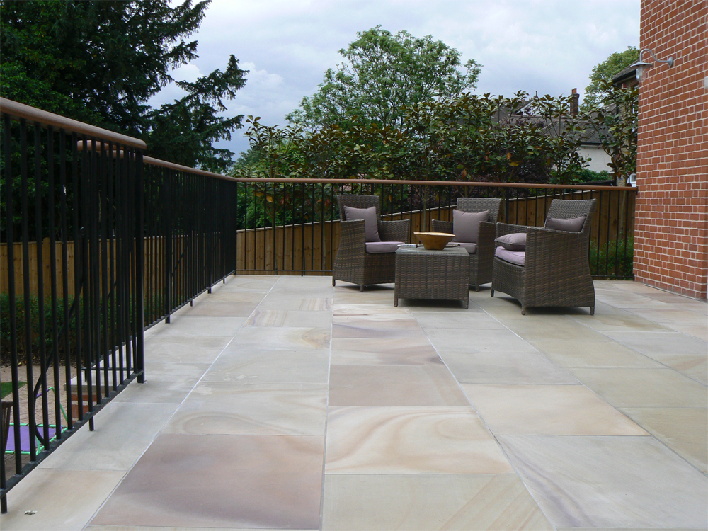 Pink Sandstone Paving' Private House. Contractor - PG Oxley Ltd.