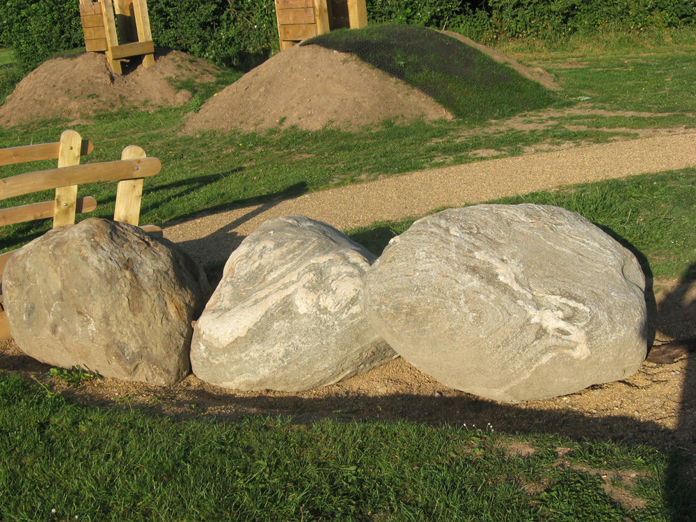 Caledonian mixed glacial boulders at Flyods Field' Coventry