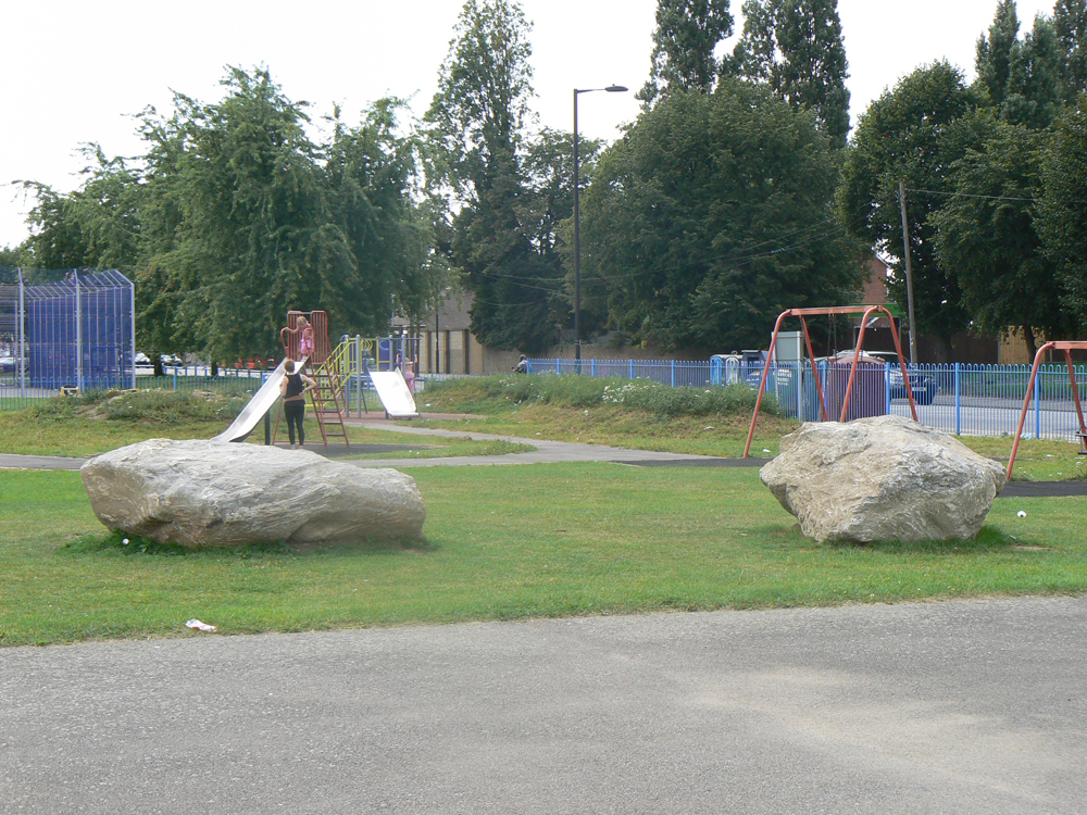 Large mega boulders at Montague Road Park