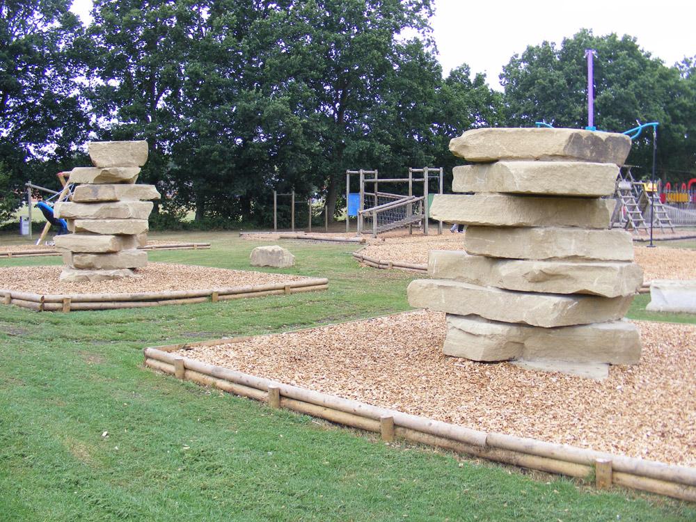 Yorkstone climbing towers at Sandhurst Memorial Park.