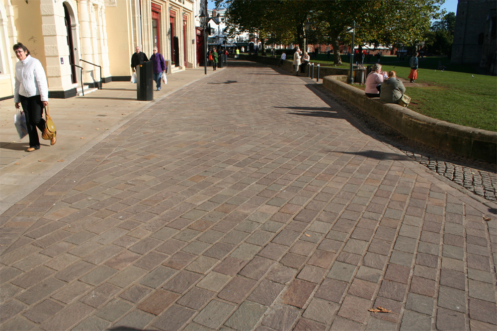 Porphyry Paving' Exeter. Designer - White Young Green. Contractor - Volker Stevin Limited.