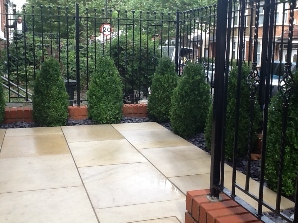 Buff Sandstone Paving In A Private Garden By Contract