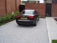 Cedagravel® filled with silver grey granite. Private driveway in Ireland.