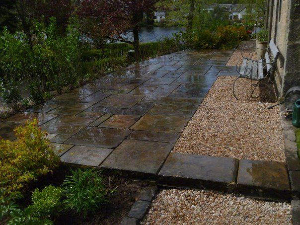 Reclaimed Yorkstone Flags' Private Garden. Contractors - Keltie Landscapes.