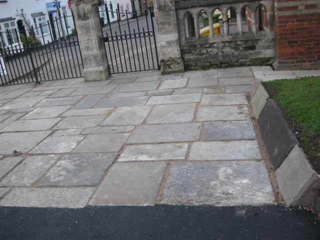Reclaimed Yorkstone Flags' Lutterworth Church' Leicestershire. Contractor - Bernard Landscapes.
