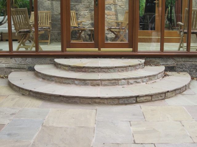 Reclaimed Yorkstone Flags' Private Garden. Designer - Dave McKay. Contractor - Direct Gardens Ltd.